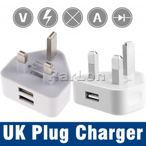 Wholesale UK Pin Mains Charger Adapter Plug V A Dual USB Wall Adapter For HTC Android Phone Tablet PC Universal