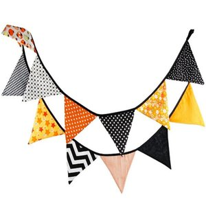 Wholesale 10 Feet Flags different patterns DIY triangular happy halloween Flags Bunting Banner Garlands for Party Outdoor Home Decoration