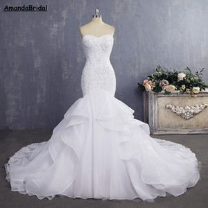 Wholesale Amandabridal Cheap Bride Gown Sexy Mermaid Wedding Dresses Vintage Lace Wedding Dresses With Detachable Straps Pleat Layer