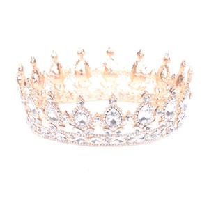 Europe and the United States popular round crown wedding headdress wedding accessories bridal jewelry on Sale