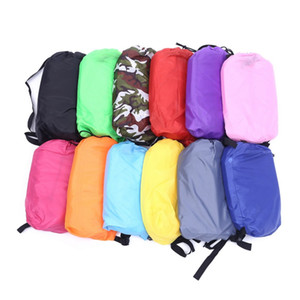 Wholesale Drop shipping Fast Inflatable Lazy bag Sleeping Air Bag Camping Portable Air Sofa Beach Bed Air Hammock Nylon Banana Sofa