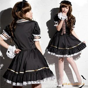 Wholesale Women Girl Japan Anime Lolita Black Dress Cosplay Coffee Maid Costume Flared Bottom Puff Bishop Sleeve