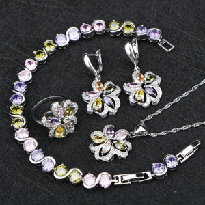 Ladies Multicolor Cubic Zirconia 925 Sterling Silver Jewelry Sets For Women Earrings Necklace Pendant Ring Bracelet Jewelry Gift