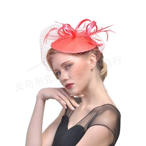 Wholesale Fancy Black Coral Birdcage Veil Short sun mask hair accessories With feather and net for weddings discount beach bridal wedding accessories