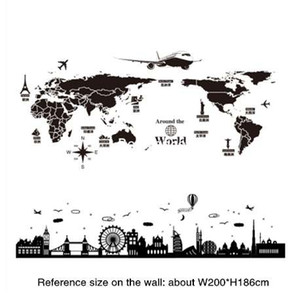 Wholesale SHIJUEHEZI World Map Wall Stickers DIY England Dubai Buildings Wall Art for Living Room Company School Office Decoration
