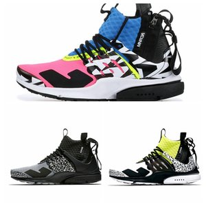 Wholesale New arrival ACRONYM Lab Presto Mid Running Shoes Air Mens Womens Racer Pink Yellow Hot Lava Prestos Sports designer Trainers off Sneakers