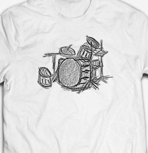 Wholesale DRUMMER DRUM KIT SCRIBBLE LIVE LOUD MUSIC BAND Mens cotton T shirt TEE Funny Casual tee