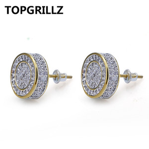 Wholesale TOPGRILLZ Gold Silver Color Iced Out Cubic Zircon Round Stud Earring With Screw Back Buckle Men Women Hip Hop Jewelry Gifts