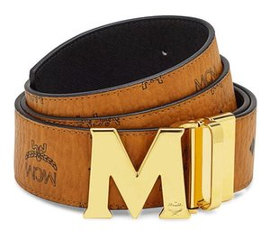 Wholesale Reversible M Big buckle belts Top Quality Togo Epsom REVERSIBLE Men Belt M Buckle Black Brown Reversible Belt With Box