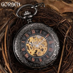 Wholesale Vintage Exquisite Pattern Carving Mechanical Pockeet Watch Male with FOB Chain Hollow Skeleton Black Mechanical Watch Clock Gift