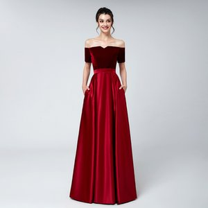 Wholesale 2019 Real red Velvet evening dresses plus size off shoulder short sleeves bateau neck satin floor length formal evening prom party gowns