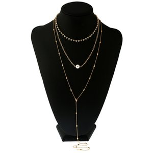 New Golden Sexy Necklace Multilayer Long Alloy Faux Pearl Pendant Body Chain Jewelry Wholesale