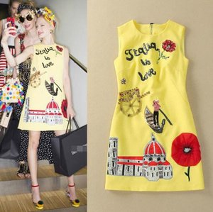 2018 Spring Summer Brand Same Style Dress Yellow Sequins Crew Neck A line Sleeveless Fashion Prom Dress AS