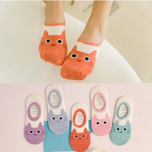Wholesale cute harajuku print cat socks women boat socks summer autumn korean animal funny cute low cut ankle sock happy sock sokken