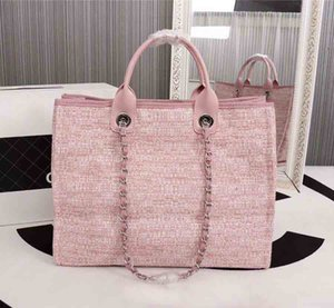 Wholesale Large capacity beach bag Canvas and leather bag luxury style top quality fashion hot tote women bag tote blue gray beige pink