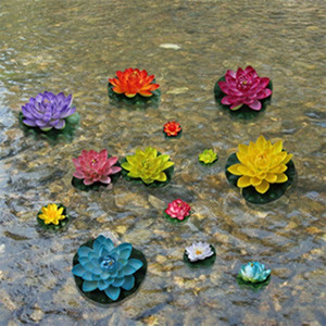 Wholesale 10cm Waterproof Fake Lotus Flower Shoot Tool Simulation Artificial Flowers ECO For Water Party Decoration Wedding Decorations zx UU