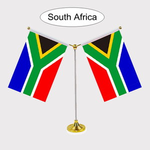 Wholesale New Fashion South Africa National Flag Table flag with stainless steel standard Your logo are welcome cm Y Style