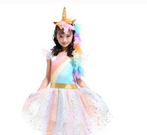 Wholesale baby girl pcs outfits set resale online - New Kid Baby Girls Rainbow Tutu Skirt Unicorn Headband Outfits Party Shows Perform Skirt Dress Wing Headhend Set