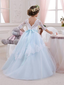 Wholesale princess toddler prom dresses resale online - 2019 New Baby Princess Flower Girl Dress Lace Appliques Wedding Prom Ball Gowns Birthday Communion Toddler Kids TuTu Dress