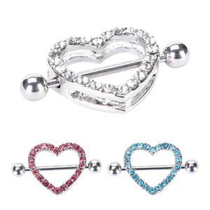 2Pc Nipple Ring Heart Gem Dangle Chain Nipple Shield Ring Body Jewelry Nipple Shield Rings Jewelry Helix Piercing Barbell