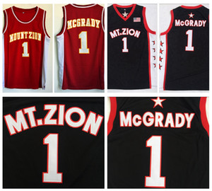 Mens Tracy McGrady #1 T-MAC Mount Zion Christian High School Basketball Jersey Cheap MT.Zion Black Red Stitched Basketball Shirts