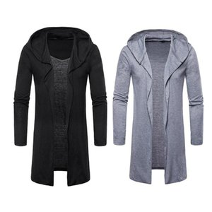 Wholesale Hot Men Spring Autumn Trench Overcoat Jacket Casual Hooded Cardigan Long Capes Cloak Outwear Open Stitch masculino Coat