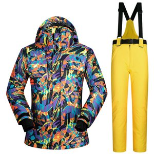 Wholesale- Colorful -30 Degrees Winter Ski Suit male Waterproof windproof skiing jacket men outdoor snowboard pant skiing Snow ski suit on Sale