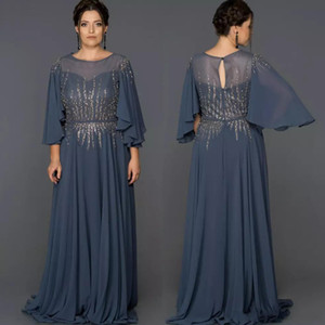Wholesale Elegant A Line Chiffon Long Mother's Dresses Jewel Neck with 3 4 Sleeve Beading Formal Gown Floor Length Sequin Evening Wear