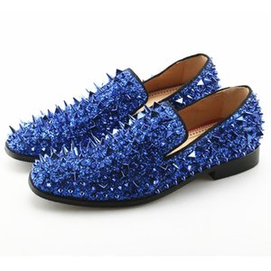 Wholesale 2018 Luxury Designer Mens Casual Shoes Flat Sparkle Glitter Red Blue Black Gold Silver Spiked Wedding Shoes Rivet Studded Loafers Men