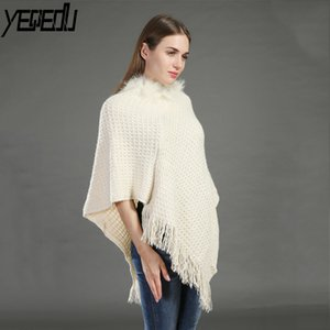Wholesale White Black Beige Oversize Knitted Ponchos and capes Tassels Warm Loose Shawls and wraps Fashion Pashmina cm g