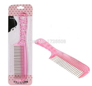 Wholesale small hair salons resale online - New Arrival Cheap Anti static wig hair tool styling senior small steel comb tooth DIY Salon Folding Hair Brush Hairdressing