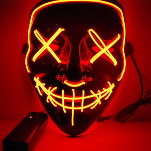Wholesale New Halloween Mask LED Light Up Party Masks The Purge Election Year Great Funny Masks Festival Cosplay Costume Supplies Glow In Dark
