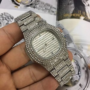 Wholesale relogio masculino diamond mens watch gold dress wrist watch Blue dials mechanical watches prices Cheap Male clock stainless steel