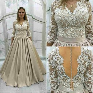 Wholesale Gorgeous Vestidos De Fiesta 2018 Prom Dresses Champagne V Neck Lace Appliques Half Sleeves Sexy Sheer Back Formal Evening Party Gowns