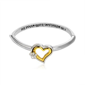 Wholesale A life without paws is a life without love quot Crystal Paw Print Heart Bangle Bracelet Pet Memorial Dog Lover Gift Heart Charm Bracelet