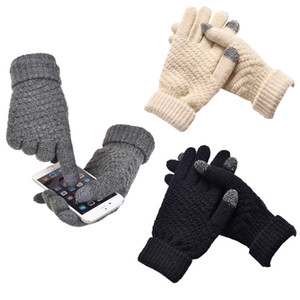 Wholesale New Knitted Gloves For Women Men Winter Warm Screen Touchable Gloves Mittens Wool Knitting Solid Thick Soft Luvas Plush Guantes