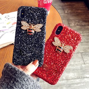 Bee Glitter Cases For Iphone6 6s 7 7 Plus Back Covers For IPhone X Phone Bags Women Lady Girls Hard Bling Cases For IPhone8 PLUS