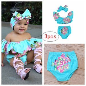Wholesale 0 T Girl Set Toddler Off shoulder Tops Shorts Headbands Summer Outfit Baby Girl blue flower print Costume