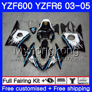 Body For YAMAHA YZF600 YZF R6 03 04 05 YZFR6 03 Bodywork 228HM.1 YZF 600 R 6 YZF-600 YZF-R6 Blue black new frame 2003 2004 2005 Fairings Kit
