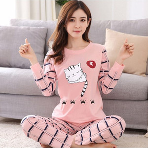 2018 Autumn women Pajamas Sets casual Homewear Long Sleeve Thin print nigtgown pink cute Sleepwear suit young Girl gift pyjamas S1015