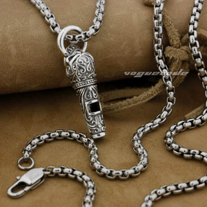 Wholesale whistle stainless steel resale online - LINSION Sterling Silver Ingenious Skull Whistle Model Soundless Biker Pendant E020 Stainless Steel Necklace inches