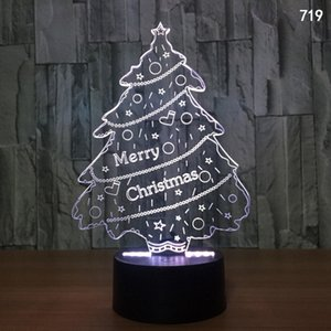 Christmas Night Light Acrylic Touch USB Colorful 3D LED Santa Claus Christmas Tree Snowman Remote Control Visual Desk Lamp