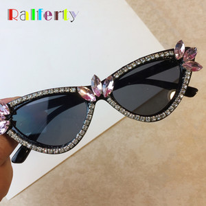 Wholesale Ralferty Unique Women s Crystal Sunglasses Luxury Beaded Cat Eye Sun Glasses For Women Black Rhinestone Eyewear Accessories G09