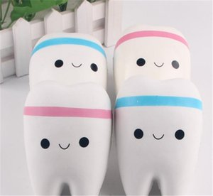Wholesale Novelty Jumbo Squishy Tooth Slow Rising Kawaii Soft Squishies Squeeze Cute Cell Phone Strap Toys Kids Baby Gift newest