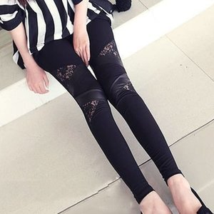 Wholesale Autumn Winter Punk Gothic Rock Legging Sexy Lace PU Leather Splice Femininos Women Apparel Leggings Hollow Out Black Large Size
