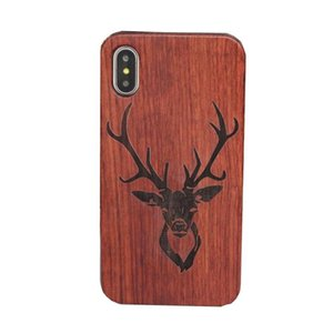Wholesale Genuine Wood Case For Iphone X Hard Cover Carving Wooden Phone Shell For Apple Iphone Plus Bamboo Housing Luxury S9 Retro