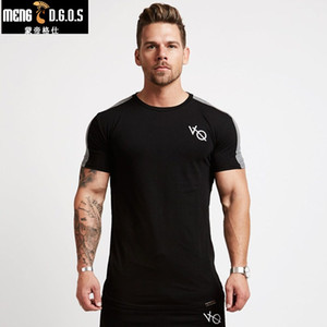 Wholesale 2018 summer gyms t shirt Fitness Bodybuilding Crossfit Slim fit Cotton Shirts Short Sleeve Men fashion Tight Tees Tops clothing