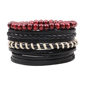 Wholesale 4pcs set Boho Gypsy Hippie Punk Black Leather Beige Cord Wrap Knots Red Wooden Beads Layers Adjustable Bracelets Set for Man
