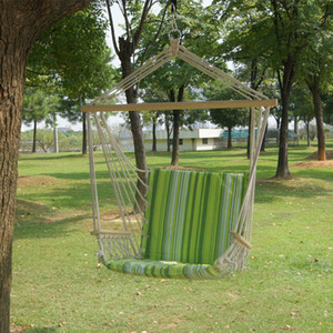 Wholesale Garden Patio Porch Hanging Cotton Rope Swing Chair Seat Hammock Swinging Wood Outdoor Indoor Swing Seat Chair B03-6