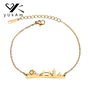 Wholesale YUKAM Minimalist Gold Stainless Steel Memorial London Bridge Charm Bracelets for Women Cityscape BFF Friendship Bracelet Jewelry